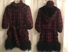 Nanette Lapore REAL Curly MONGOLIAN LAMB Fur WOOL Mohair HOODED COAT Jacket 0 XS