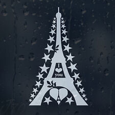Valentine's Day I Love Parise Eiffel Tower Stars Around Car Decal Vinyl Sticker