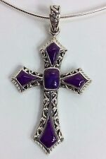 Purple Turquoise Cross, Fine Sterling Silver, Gorgeous