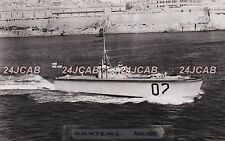 "Royal Navy Real Photo Postcard. HMS ""MTB # 2"" Torpedo Boat. At Malta. Rare! 1937"