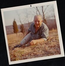 Old Vintage Photograph Older Man With Glasses and Binoculars Posing on Lawn