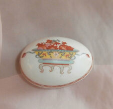 Bernardaud Limoges Egg Form Trinket Box France Fou Tcheou Chinoiserie