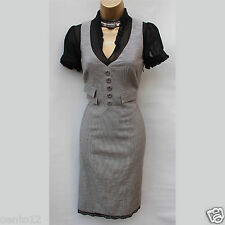 Karen Millen Grey Black Silk Lace Trim Dogtooth Cotton Wool Fitted Dress UK 8