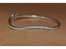 Classic Sterling Silver Hinged Bangle With Sparking Lab Created Diamonds