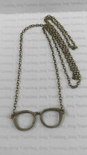"A Harry Potter Style Glasses Bronze Tone Charm Pendant, Long 30""Chain Necklace"