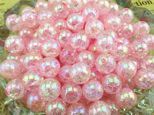 10pcs 12mm Pink AB Chunky crack Beads Jewelry Pendant Bubblegum Necklace*13