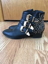 Black faux leather Forever 21 Chloe Susanna style studded low heel boots
