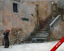NONNA ON A STREET IN ITALY CLASSIC ITALIAN SCENE PAINTING ART REAL CANVAS PRINT