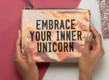 New Look Rose Gold Holographic Unicorn Wristlet Clutch Cosmetics Makeup Bag NWT