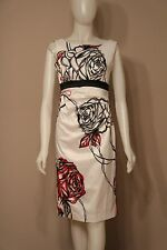 Karen Millen White Sleeveless Roses Outline Dress (bow in the back) size 4 NEW