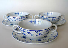 Antique FURNIVALS 3 Soup Bowls &  Saucers, Blue & White Denmark Pattern ENGLAND