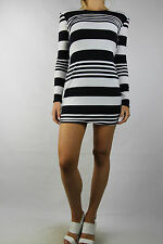 BACKSTAGE Dark Navy Stripe Fitted Party Dress Size S (10)