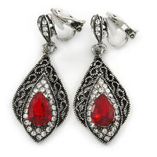Marcasite Red/ Clear Crystal Teardrop Clip On Earrings In Antique Silver Tone -