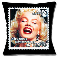 "NEW MARILYN MONROE COLOUR PHOTO STAMP CONGO BLACK EDGE 16"" Pillow Cushion Cover"