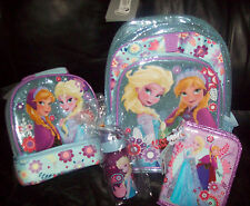 Disney Store FROZEN Lot Backpack Lunch Tote Zip-Up Stationery Kit  Water Bottle