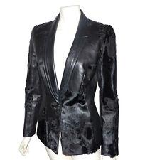 THIERRY MUGLER - VESTE EN CUIR ET POULAIN NOIR - Black leather jacket mugler
