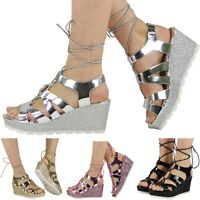 NEW WOMENS LADIES GLITTER MID WEDGE HEEL CUT OUT PLATFORM SHOES SANDALS SiZE