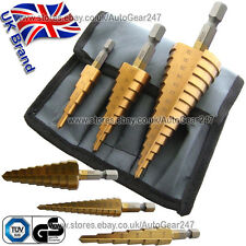 6 Pc Metric Imperial Drop Forged High Speed Titanium Coated Steel Step Drill Set