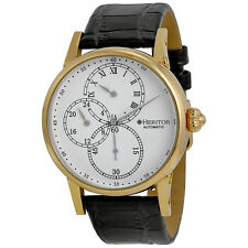 Heritor Thomson White Engraved Sunray Dial Black Crocodile Leather Mens Watch