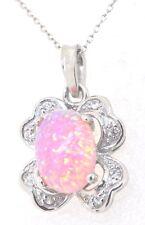 Opal Anhänger Rosa Opal 925 Silber Rhodiniert  STERLINGSILBER