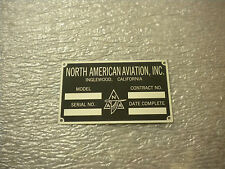 North American Aviation P-51 Mustang Data Plate