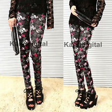 New Girl Sexy Red Black Pirate Skull Pattern Soft Stretch Leggings Pants