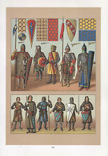 VINTAGE FASHION COSTUME PRINT EUROPE MIDDLE AGES ARMOUR KNIGHT SHIELD CHAINMAIL