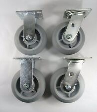 "6"" x 2"" Non-Marking Rubber Caster - Rigid (2EA) & Swivel (2EA)"