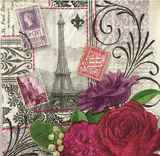 2 Paper Napkins Decoupage Paris Roses Eiffel Floral Beverage Craft Punch