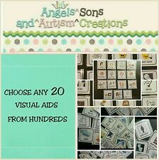 YOU CHOOSE 20 PECS WITH SMOOTH / LOOP VELCRO - AUTISM / VISUAL AIDS NON VERBAL