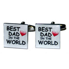 Black & Red Best Dad In The World Cufflinks With Gift Pouch Fathers Day New