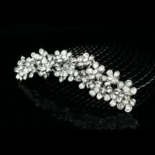 Elegant Bridal Flower Rhinestones Crystal Prom Wedding Tiara Hair Comb 7812