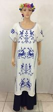 Vtg Mexican Dress Blue Cross Stitch HUIPIL Hand Embroidery Birds And Deer