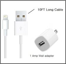 10ft Long 8 Pin USB Power Cord Cable for iPhone 6S, 6, 5 + Wall Charger (White)