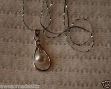 Freshwater Pearl CZ Pendant Necklace White S-925 Clasp New Fashion Fine Jewelry