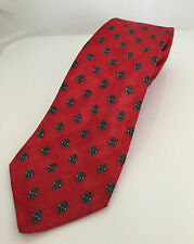 Vintage Burberrys 100% Silk Neck Tie, Red with Small Hearts