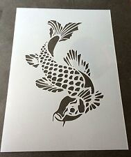 Koi Fish Design Mylar Reusable Stencil Airbrush Painting Art Craft DIY home