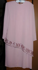 Vtg~Womens~Ladies~MOTHER OF BRIDE~Wedding~Formal Tiered Dress~Pink Crepe~Size 12