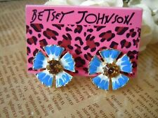 NEW Betsey Johnson Beautiful Drip Blue Flowers Crystal Alloy Earrings BJEA025