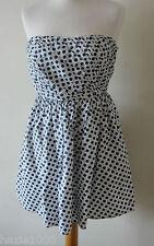 Fabuloso Jack Wills Blanco/Multi Floral Impresión, Algodón Vestido sin tirantes, Reino Unido 10, en muy buena condición