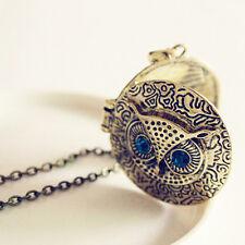 Retro Style Round Locket Blue Eyes Owl Pendant Fashion Necklace Sweater Chain