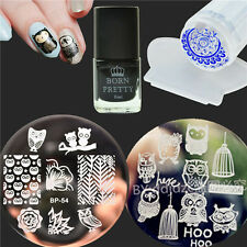 5Pcs/Set Owls Nail Art Stamp Plates Black Stamping Polish W/Stamper Scraper Kit