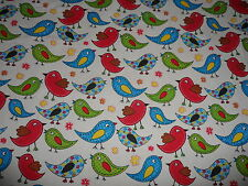 Funky Birds & Flowers 100% Cotton Fabric Material BY HALF METRE