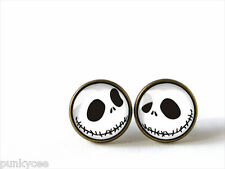 Retro Style Handmade Glass Dome Stud Earrings, Nightmare Before Christmas, A-310
