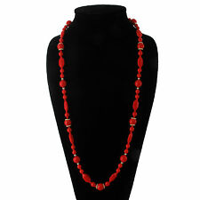 """Long Necklace Czech Bohemian Glass Bead Red Gold Tone Filigree Chunky 31"""""""