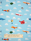 Airplane Air Planes Sky Clouds Kids Blue Cotton Fabric Wilmington On The Go YARD
