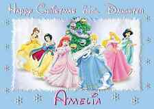 Disney Princesses A5 personalised Christmas card daughter sister niece name