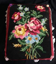 """VINTAGE FLORAL PATTERN NEEDLEPOINT WOODEN FOOTSTOOL/OTTOMAN 10 By 12"""" ShabbyChic"""