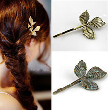 New Women Girls Antique Bronze Lovely Three Leaves Punk Hairpin Hair Jewelry 1Pc