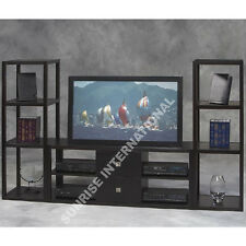 Wooden Entertainment Unit with TV Cabinet & 2 Standing Stands (set of 3)